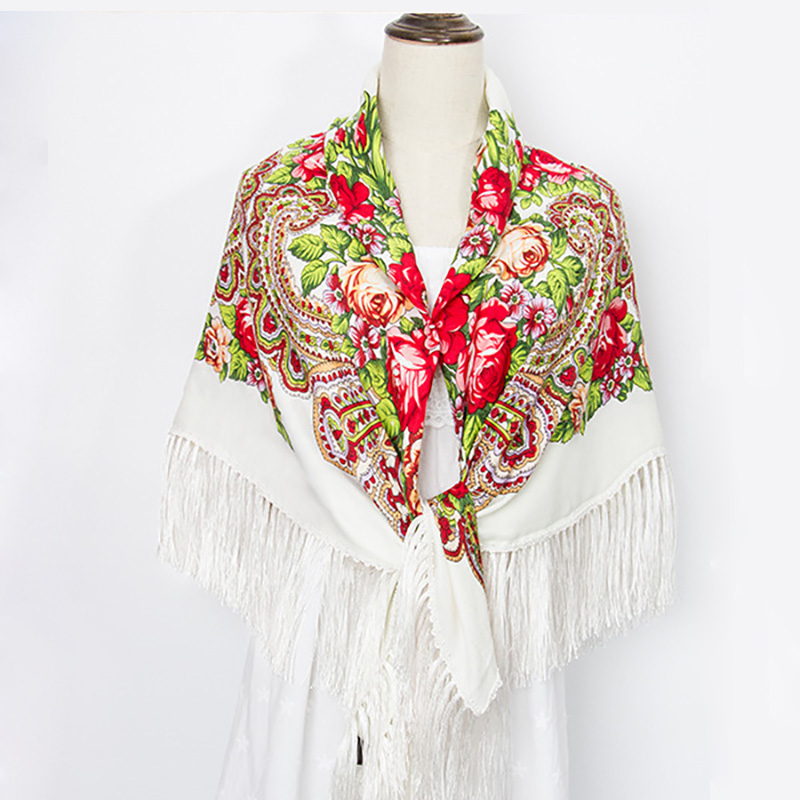 Babushka Ukrainian Scarves Russia Big Square Scarf Retro Floral Cotton Hair Head Wrap Hijab Tassel Scarf Winter Cotton Shawl