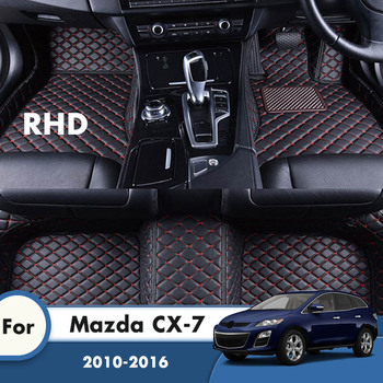 RHD Carpets For Mazda CX-7 CX7 2016 2015 2014 2013 2012 2011 2010 Leather Car Floor Mats Foot Pads Custom Accessories Interior image