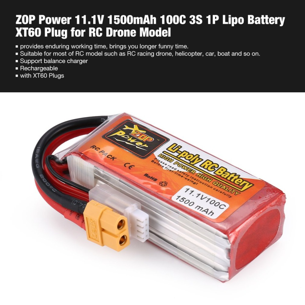 ZOP Power 11.1/14.8V <font><b>1500mAh</b></font> <font><b>100C</b></font> 3/<font><b>4S</b></font> 1P <font><b>Lipo</b></font> Battery XT60 Plug Rechargeable for RC Racing Drone Helicopter Car Boat Model image