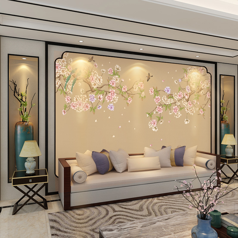 5D Stereo Modern New Chinese Style Flowers And Birds Living Room Film And Television Wall Wallpaper Simple Television Wall Cloth