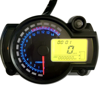 Hot Motorcycle Speedometer Instrument LCD Digital Tachometer Gauge Odometer 7 Colors with Fault Warning Light 2019