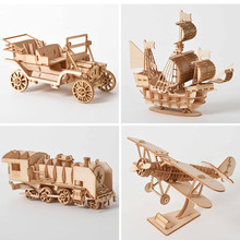 Mechanical-Toys Puzzle-Model Train Game-Assembly Airplane Adult-Kit Ships Wooden Handmade