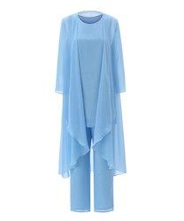 Maniche Lunghe di Lunghezza Del Tè Vestito Giacca 3 Pezzi Madre Del Vestito da Sposa Vestito con Pantaloni Delle Donne Libere di Chiffon Solido Semplice Blu Set vestito