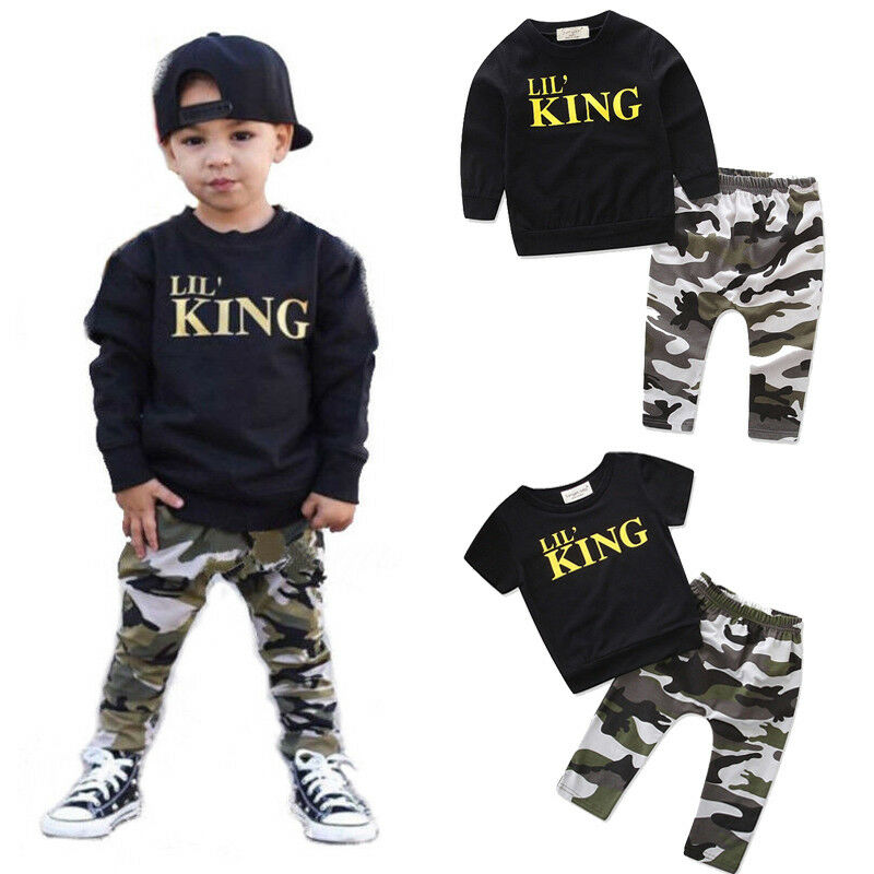 2PCS Toddler Kids Infant Baby Boys Letter T shirt Tops Pants Outfits Clothes Set
