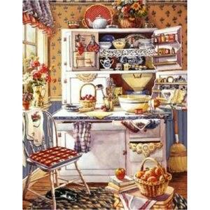 Nova chegada 5d diy pintura diamante armários de cozinha padrões grânulo bordado ponto cruz crianças paisagem quarto decoração presente