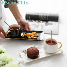 3Pcs Ceramic Cup Creative Coffee + Tray Spoon Set Phnom Penh Afternoon Tea Snack For Drinkware