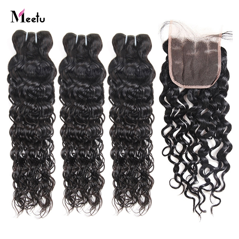 Meetu Brazilian Water Wave Bundles With Closure 4x4 Inch 3 Bundles With Closure 100% Human Hair Bundles With Closure Non Remy