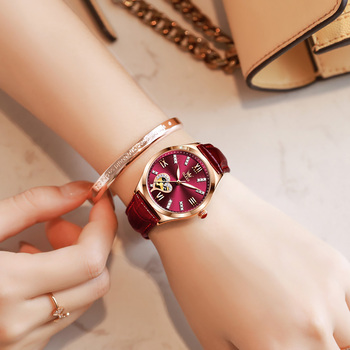 New Luxury Women Watches Automatic Mechanical Leather Wrist Watch Rhinestone Ladies Fashion Bracelet Set Gift Top Brand часы 6