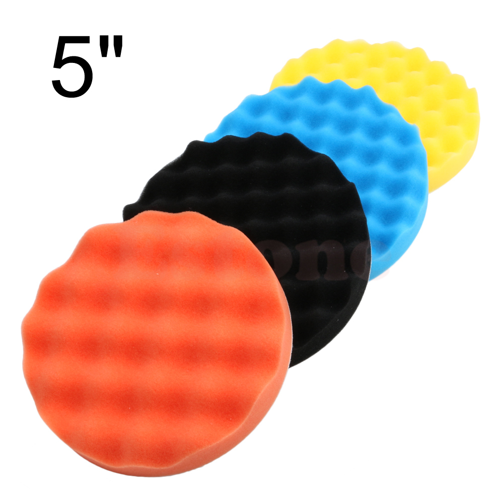 Drop Shipping 4Pcs 5 Inch (125mm) Buffing Polishing Sponge Pad Kit For Car Polisher Buffer New
