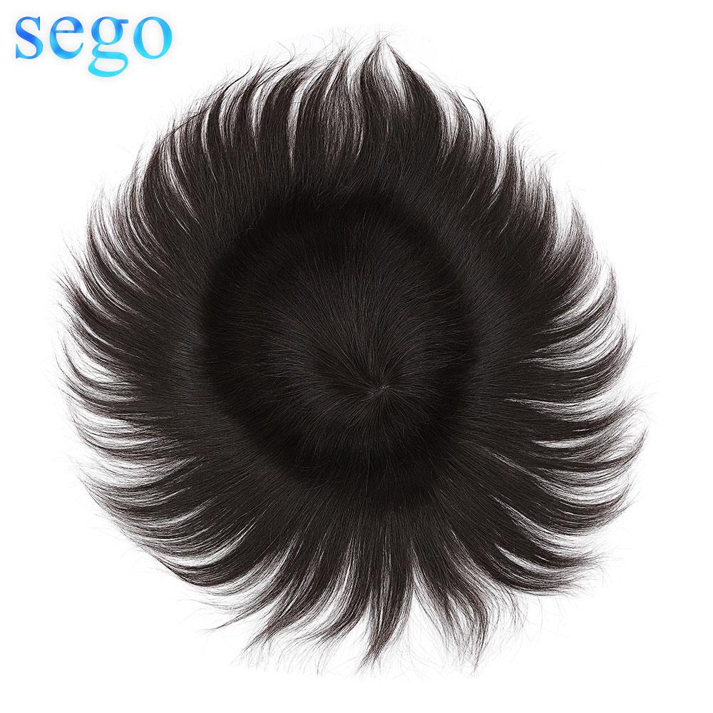 Sego reta 8x10 polegada fina pele 0.08mmpu homens peruca de cabelo humano remy hairpiece sistemas substituição para 8 polegadas es
