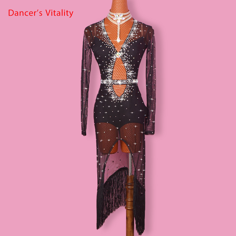 Latin Dance Dress Women Diamond V Collar Open Long Sleeves Salsa Tango Rumba Flamengo Ballroom Latin Dance Competition Costumes