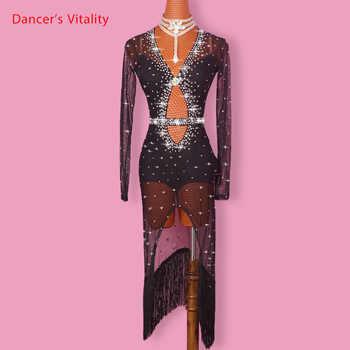 Latin Dance Dress Women Diamond V Collar Open Long Sleeves Salsa Tango Rumba Flamengo Ballroom Latin Dance Competition Costumes - DISCOUNT ITEM  10% OFF All Category