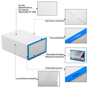 Image 2 - 10 pc 透明靴箱肥厚透明防塵靴収納ボックス canbe 積み重ねコンビネーションシューズキャビネット靴オーガナイザー