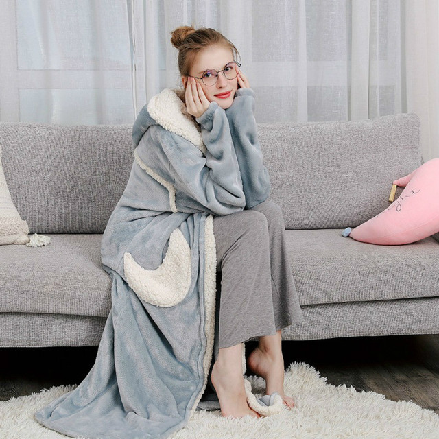 Winter Thick Extra Long Zipper Pajamas Robe Women Fashion Star Moon Warm Hooded Bathrobe Loose Bridesmaid Robe Dressing Gown 1