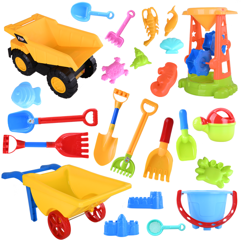 Summer Silicone Soft Baby Beach Toys Kids Bath Set Beach Party Cart Ducks Bucket Sand Tool Brinquedo Praia Water Game CC50BT