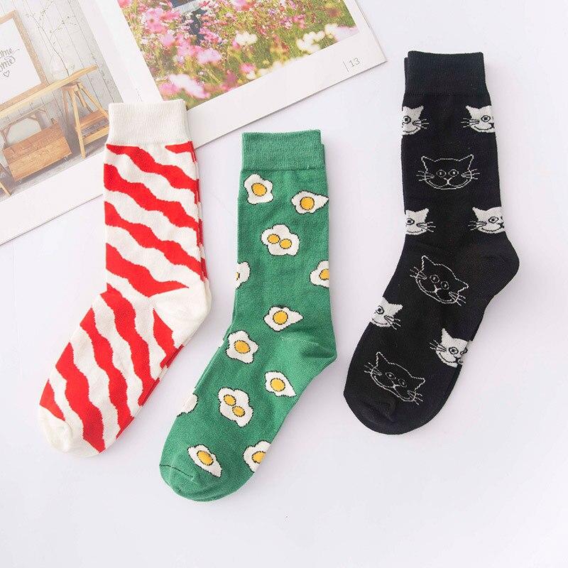 Fashion Plus Size Women Cute Socks Cotton With Poached Egg Cat Stripes Streetwear Funny Socks Autumn Winter  Women Meias 421