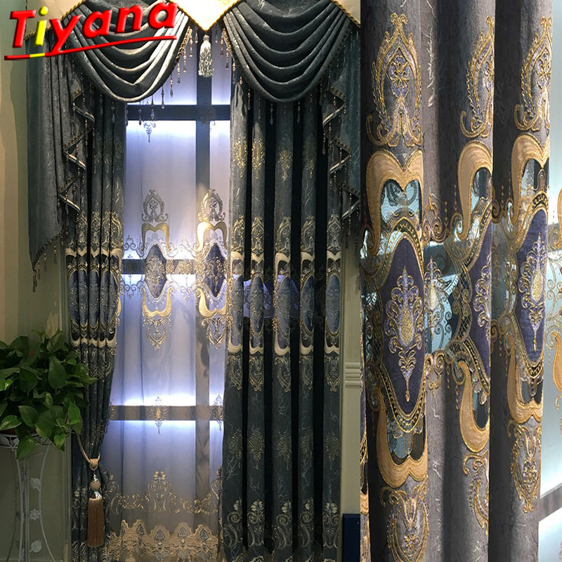 Luxury Embroidered Curtains for Bedroom Blue Chenille Hollow ...