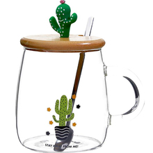 Cute Cactus Tea Mug with Wooden Lid and Spoon Borosilicate Glass Coffee Mug 450ml Clear Drinking Cup for Fruit Juice, Coffee Tea tangpin coffee and tea tools ceramic tea strainers fish tea infuser chinese kung fu tea accessories
