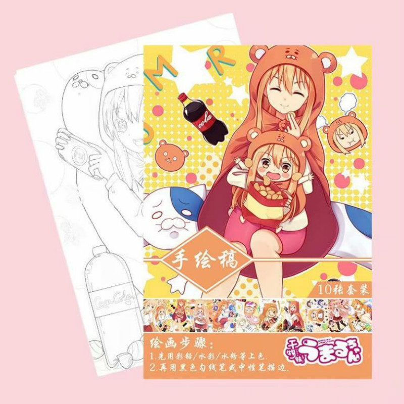 1set Hot Sale Anime Himouto Umaru-chan Coloring Book Kids Adult Painting Drawing Antistress Books A4 Drawing Art Book Toys