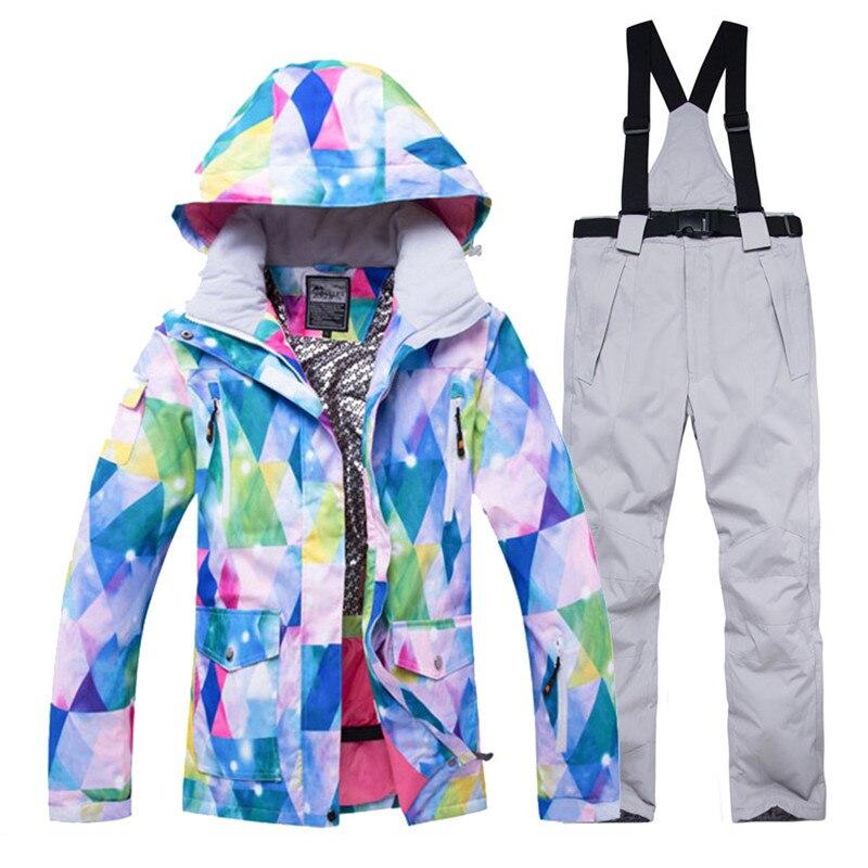 Mode femmes neige costume ensemble 10k imperméable coupe-vent vêtements hiver extérieur porter snowboard tenue Ski vestes + pantalon de neige