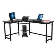 L-Shaped Computer Desk with CPU Stand/PC Laptop Study Writing Table Workstation for Home Office Wood & Metal