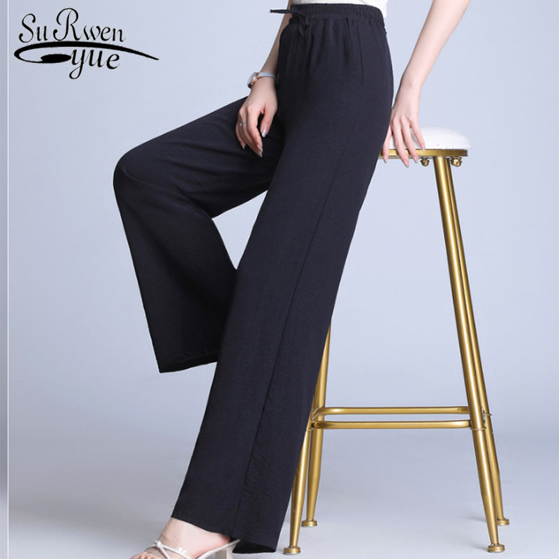 2019 Fashion Women   Pants   Casual Drawstring Solid High Waist   Wide     Leg     Pants   Loose Bow Cotton Linen Women   Pants   5177 50