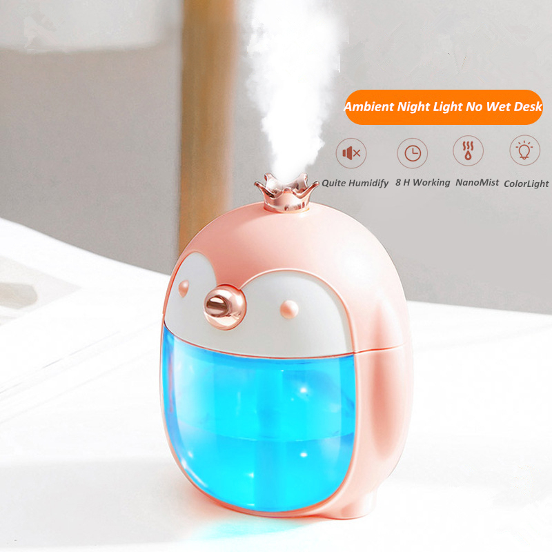 300ML Cute Pet Penguin Ultrasonic Air Humidifier Portable USB Aroma Essential Oil Diffuser With Color Night Lamp For Home