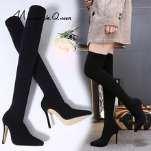 shoes woman new fashion Winter autumn women boots overknee boots lady thin High heels black pointed thin high heel d Boots 2019 недорого