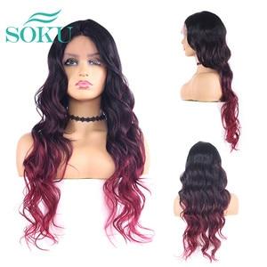 Image 3 - SOKU Ombre Blone סינטטי תחרה מול פאות ארוך גלי התיכון חלק תחרה שיער פאות חום עמידה עבור שחור נשים
