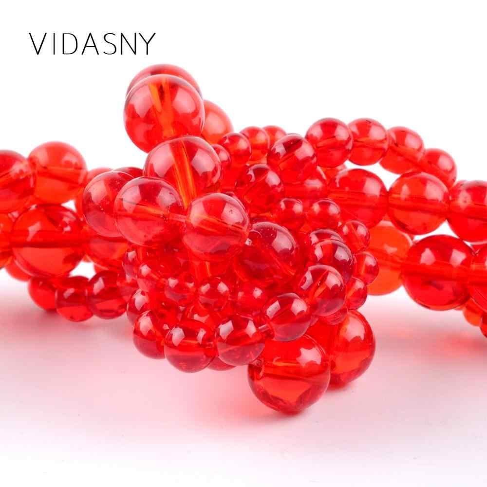 Perles de verre rouge en pierre gemme de haute qualité pour la fabrication de bijoux à l'aiguille 4 6 8 10 12mm perles rondes entretoises collier à faire soi-même Bracelet 15''