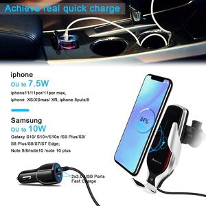 Image 5 - R3 Automatic Clamping Car Qi Wireless Charger 10W Fast Charging For Iphone 11 Pro XR XS Huawei P30 Pro Auto Sensor Phone Holder
