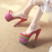 Leecabe shoes 20cm High Heel Slippers Platforms Party / Wedding Shoes sexy Pole Dance Shoes