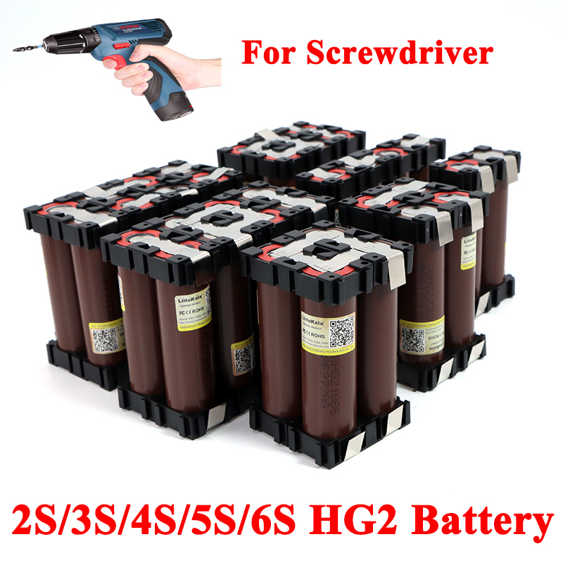 Liitokala 18650 HG2 2S 3S 4S 5S 6S 8S 6000mAh 20A 7,4 V 12,6 V 25,2 V 29,6 V 3000mAh para destornillador baterías batería de soldadura paquete