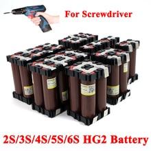 Liitokala 18650 hg2 2 s 3 s 4S 5S 6 s 8 s 6000 mah 20a 7.4 v 12.6 v a 25.2 v 29.6 v 3000 mah para baterias de chave de fenda solda bateria