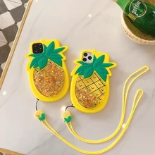 3D Pineapple Shining Star Dynamic Liquid Decompression Silicone case Lanyard