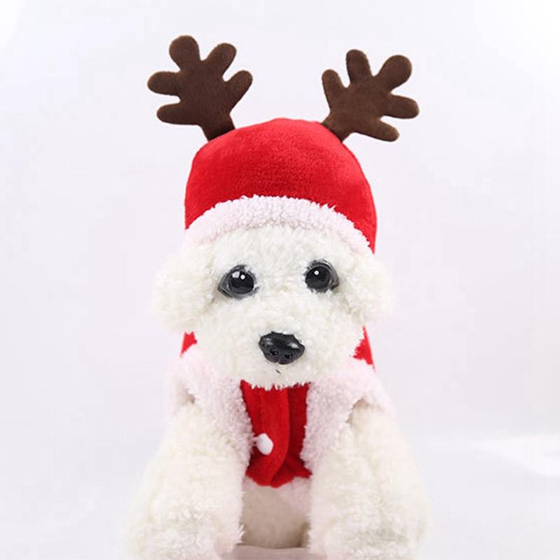 Christmas Winter Dog Clothes Hooded Jacket Coat Reindeer Elk Costume for Pug Chihuahua Yorkshire Pet Cat Clothing Pet Supplies P