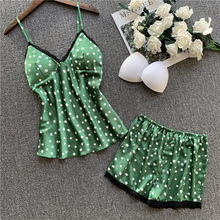 Silk Pajamas For Women With Shorts Sexy Lingerie Lace Trimmed Cami Set 2-Piece Summer