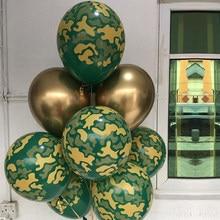 10x 12 polegada matel camuflagem balões tema militar tanque lutador verde impresso balão chá de bebê brithday decoração da festa de casamento