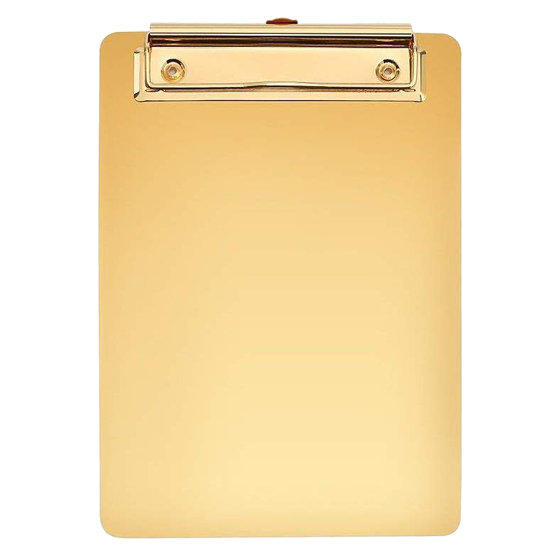 A4 Clipboard Gold Stainless Steel Metal Legal Pad Menu Writing Pad Office Organiser With Hanging Hole