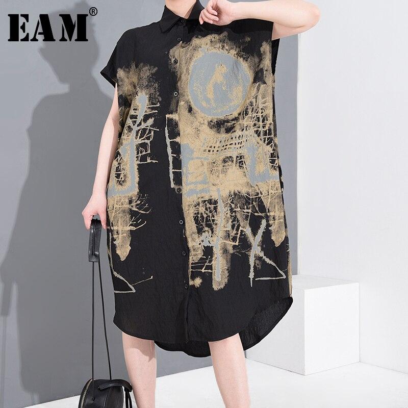 [EAM] Women Black Pattern Printed Big Size Shirt Dress New Lapel Short Sleeve Loose Fit Fashion Tide Spring Summer 2020 1T45201