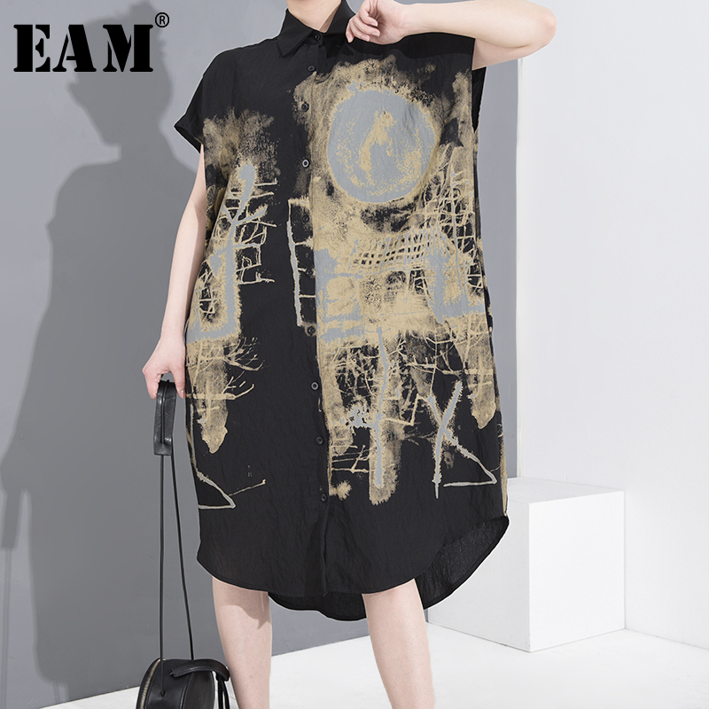 [EAM] Women Black Pattern Printed Big Size Shirt Dress New Lapel Short Sleeve Loose Fit Fashion Tide Spring Summer 2020 1T45201