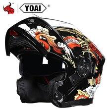YOAI Flip Up Casco Moto גברים אופנוע מוטוקרוס Capacete דה Motocicleta קסדה מרוצי רכיבה קסדה
