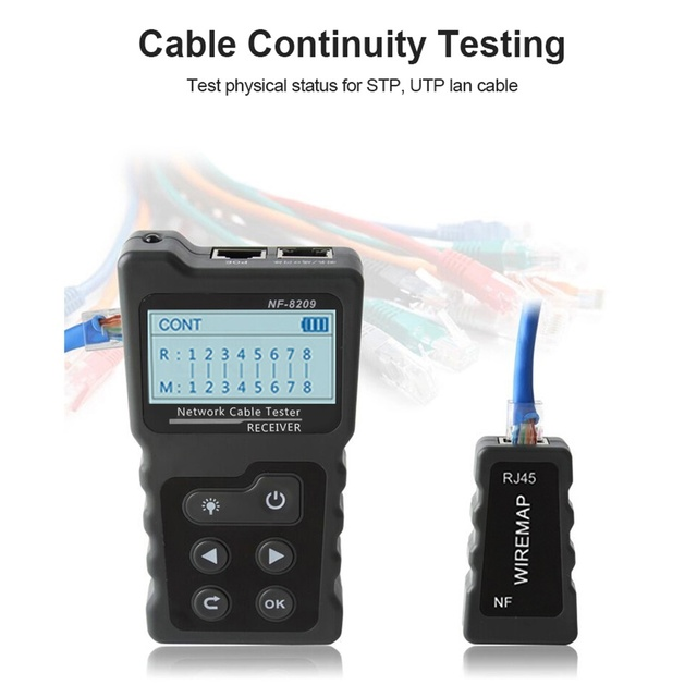 NF-8209 LCD Display Measure Length Lan Cable POE Wire Checker Cat5 Cat6 Lan Test Network Tool Scan Cable Wiremap Tester 4