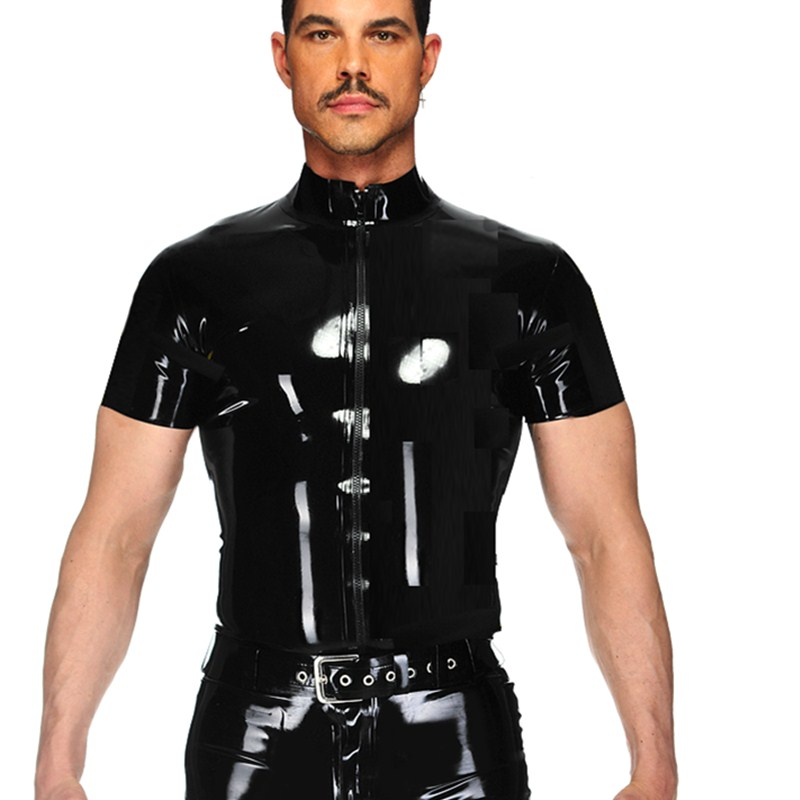 Mens Wetlook PVC Leather T Shirts Tops Black Punk Tight Fitness Clothing Short Sleeve Zipper Mens Stage Tops Sexy Party Clubwear