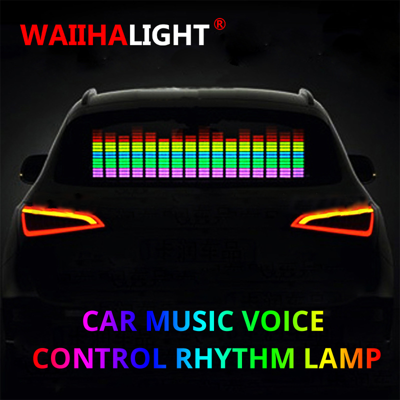 90x25CM Car Windshield LED Sound Activated Equalizer Car Neon EL Light Music Rhythm Flash Lamp Sticker Styling With Control Box