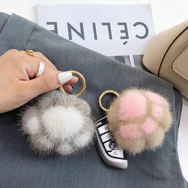 Cute Real Mink Fur Dinosaur Doll Toy Keyring Bag Charm Car Phone Pendant Gift