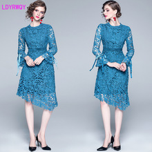 2019 new fashion hot-selling bag hip  sleeve irregular ruffled fishtail hollow water soluble lace dress