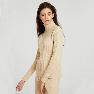 Image 3 - Wixra Conjuntos de Jersey de punto para mujer, suéteres de manga larga con cuello de tortuga, Tops y pantalones largos con bolsillos, trajes sólidos de 2 piezas, disfraz de invierno