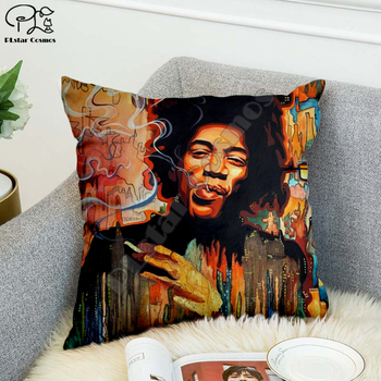 Rock singer Bob Marley/The Hillbilly Cat Hip Hop Pillow Case Polyester Decorative Pillowcases Throw Pillow Cover Square style-12 image