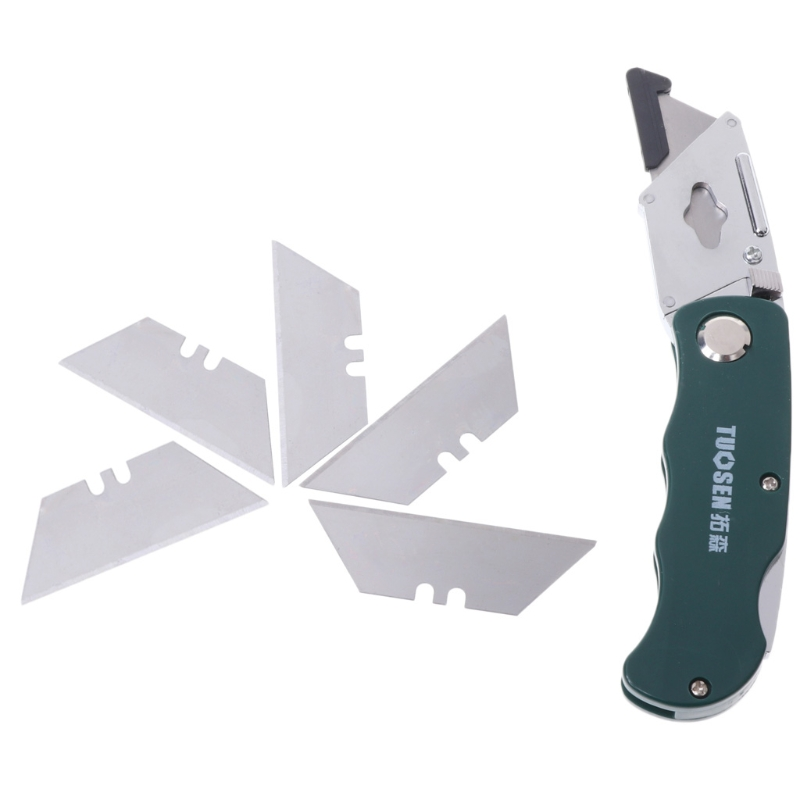 Stainless Steel Folding Utility Knife Woodworking Outdoor Camping W/ Five Blades